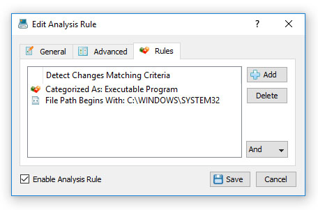 DiskPulse Enterprise Analysis Rules File Filter