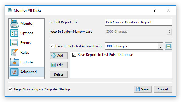 DiskPulse Disk Change Monitor Action Report