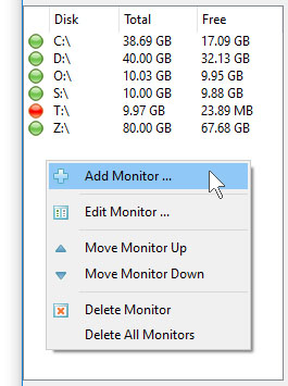 DiskPulse Server Add Disk Space Monitor
