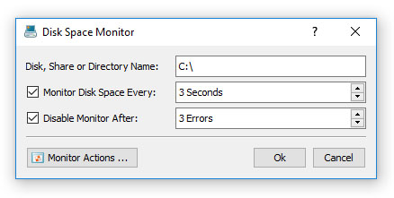 DiskPulse Server Disk Space Monitor Dialog