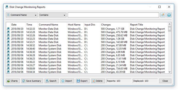 DiskPulse Disk Change Monitor Reports Database