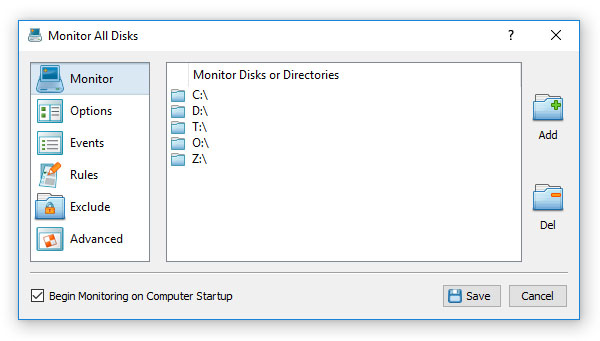 Disk Change Monitoring Directories
