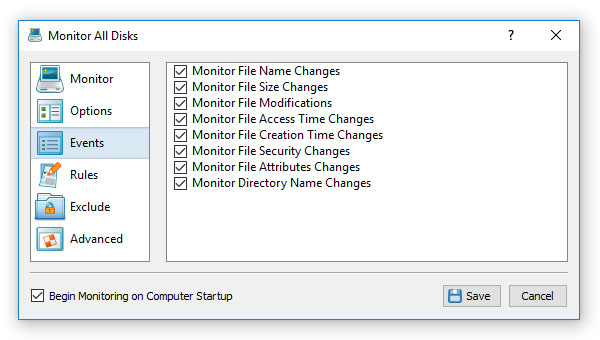 Disk Change Monitoring Events