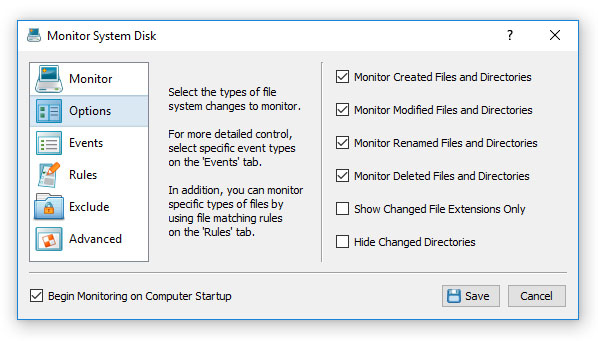 DiskPulse Disk Change Monitoring Options